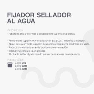Fijador Sellador al Agua ideal para sellar la superficie unificando su absorción. Optimiza la adherencia y rendimiento de la pintura de terminación.